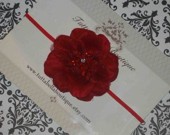 Red Flower Headband, Baby Headband, Red Hair Bow, Valentine's Day Headband, Toddler Headband, Newborn Headband