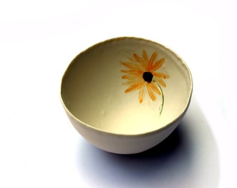 Gift for Mum Mothers Day Gift - Sunflower Bowl - Ceramics UK - Floral Decor - Porcelain Bowl - Spring Gift -  Gift for the Home Home Gifts