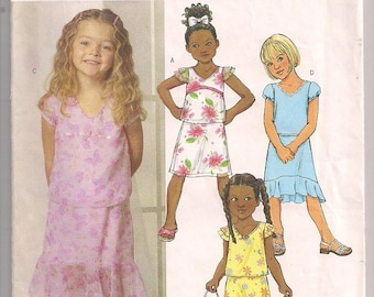 Girls Top and Skirt, Butterick 4437, Short Sleeve Top, Straight Skirt, Skirt with Flounce, Skirt Pattern, easy to sew,  6 7 8 Uncut