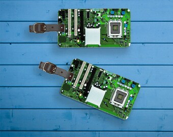 Personalized Luggage Tags Luggage Tag Set Personalized Circuit Board Computer Motherboard Luggage Tags - Full Metal Tags