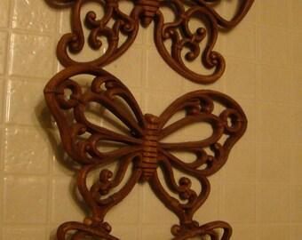 Lot of three (3) Vintage Home Interiors brown wood tone butterflies- wicker or rattan look - 1970s