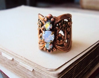 Art Nouveau Style Brass Ring Cocktail Ring with White opal Moonstone and Aurora Borealis Rhinestones