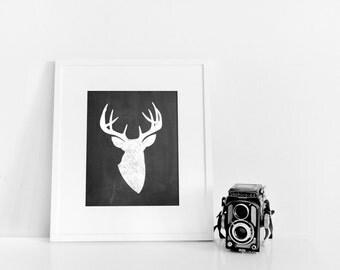 Chalkboard Deer Silhouette // 8x10 Digital Print
