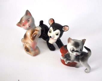 Set of 3 Small Porcelain Japanese Japan Ceramic Cats Bear Cub Outsider Art hand Painted 60s 70s Vintage Artwork Decorative Desk Statues