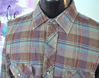 Vintage Flannel Shirt Soft Thin Grays Brown Purple Teal Plaid Mens Shirt Long Sleeve XL