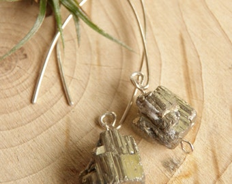 Raw Pyrite and Sterling Silver Modern Earrings