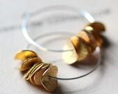 Large Silver Hoop Earrings Sterling Silver Hoops Gold Ruffled Mixed Metal Petals Modern Hoop Earrings