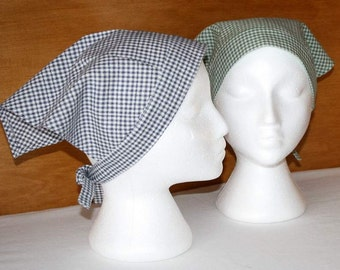 Gingham Kerchief, Adult Triangle Head Scarf, Cotton Bandana,