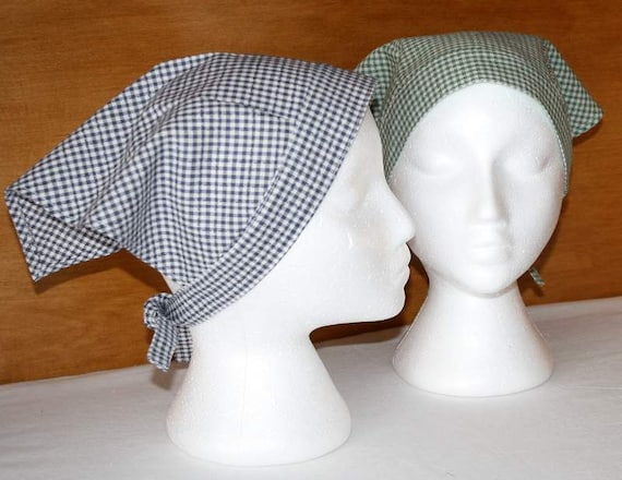 Gingham kerchief adult triangle head scarf cotton by minimade