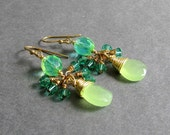 "Lime Green Briolette Cluster Earrings, Ombre Glass, Light Emerald Swarovski Crystals, Gold Plated Metal, ""Flicker"""