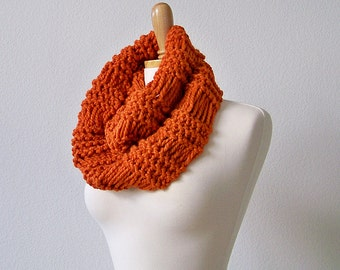 Knitting PATTERN, Knit Infinity Scarf Pattern, Knit Cowl Scarf Pattern, Knit Scarf Pattern Men, Drop Stitch Scarf Pattern