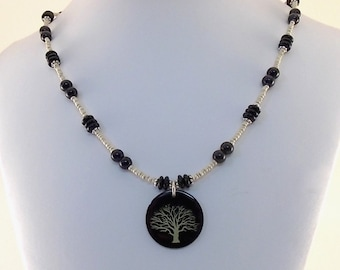 Black and Gold Tree  Necklace - Lillypilly Necklace - Black and White Necklace - Tree Necklace - Silver Necklace - Beaded Necklace - Average