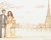 Custom Wedding Illustration, Bride Groom Portrait, Wedding Gift, Save the Date Art, Custom Wedding Portrait, Couple Portrait by Rhian Awni