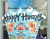 Blue Happy Home Door Hanger - Bronwyn Hanahan Original