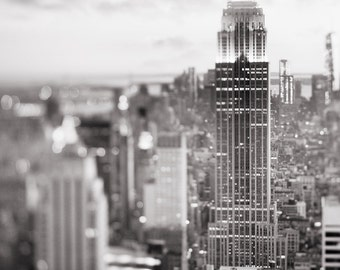 New York City Photography - Black and White Manhattan Skyline at Dusk, Empire State Building, Urban Home Decor, Large Wall Art