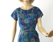 "Vintage 50s Floral Dinner Dress Blue Watercolor Organza Taffeta Print Dress Bust 38"""