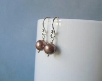 Tan pearl 8mm / 0.31'' in,  wire wrapped, silver dangle earrings.