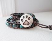 Cat Lover Animal Rescue Gemstone Bracelet Triple Wrap Leather Bracelet Animal Rescue Donation