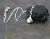 delicate silver necklace, dainty necklace, simple silver necklace, sterling silver, teardrop drop pendant, wedding necklace bridesmaids gift