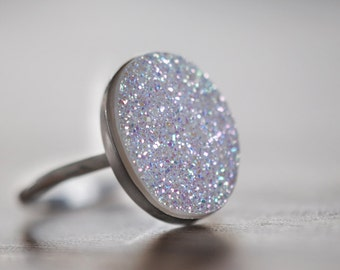 Druzy Ring, White Druzy, Oval Drusy, Sterling Silver, Drussy, Drusy, Statement Ring, Handcrafted, Round, Iridescent, Quartz.