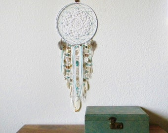 Shabby Chic Gypsy Dreamcatcher in White, Turquoise, and Brown