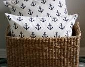 "Caitlin Wilson Navy Anchors Pillow Cover 20"""