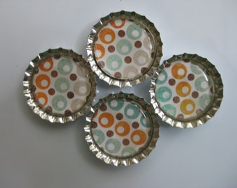 Orange, Aqua and Cream Circles Bottlecap Magnets - Set of 4