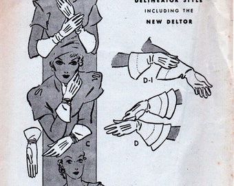 1930's Vintage Set of 5 Styles of Ladies GLOVES Sewing Pattern Butterick 5225  - Factory Folded - size 6 1/2 - RARE