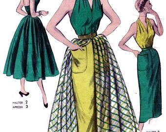Halter Tops * RARE Vintage Advance Pattern 5527 - STUNNING High Fashion Halter, Skirt, Apron Dress // Size 14 // UNUSED