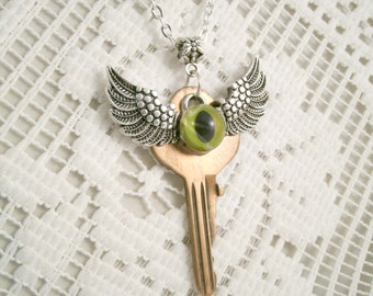 Dragon Eye Wings with Vintage Key Steampunk Charm Necklace