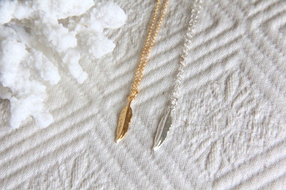 Tiny Feather Necklace -- Sterling Silver or Gold Filled