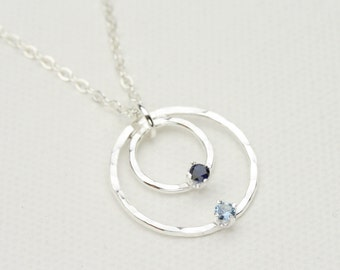 Birthstone Necklace, Mother and Child Necklace, Mothers Necklace, Hammered Silver Circle with Birthstone Accents, Mothers Jewelry