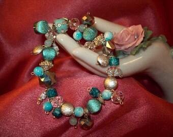 Turquoise and Silver Beaded Stretch Jingle Jangle Bracelet