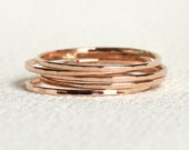 Solid 14k Gold Stack Rings - Set of Five White Rose or Yellow Gold -  SOLID Threads of Gold - Five Tiny Stack Rings  - Delicate Rings
