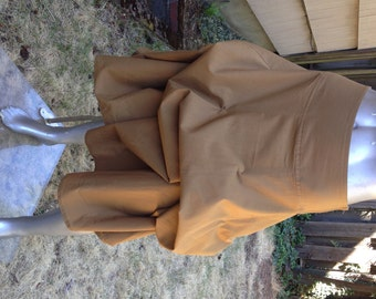 Convertible Skirt in Camel – Can be LONG or bustled shorter by tying strings – Lightweight Cotton in 2 sizes