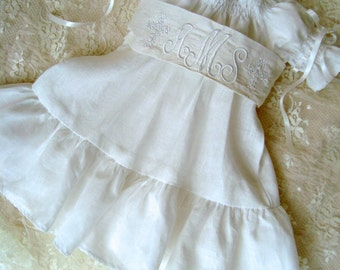 Traditional White Linen Vintage Inspired Dress with Monogrammed Dupioni Silk Sash and Embroidered Crosses Sizes 3m to 5