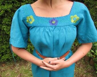 ALEJANDRA - Bright Blue Cotton Hand Embroidered Mexican Oaxaca Floral Hippie Bohemian Folk Beach Summer Maxi Dress Medium