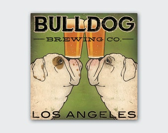 BULLDOG Custom PERSONALIZED Bulldog Brewing Company Gallery Wrapped Stretched Canvas