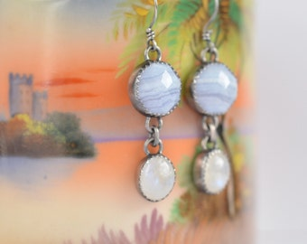 blue lace agate and rainbow moonstone sterling silver earrings