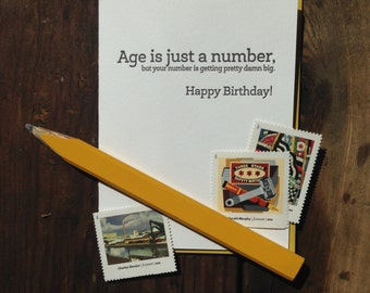 SASS-606 Age is just a number birthday funny letterpress card