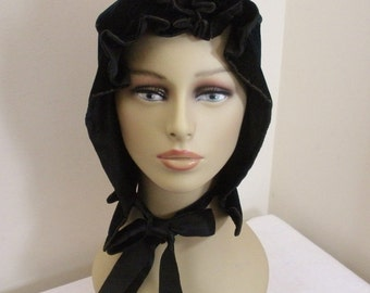 Antique 1800's Victorian Velvet Bonnet