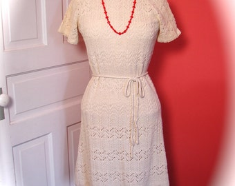 Vintage Dress Cream Crochet Knit 60s wiggle dress - on sale
