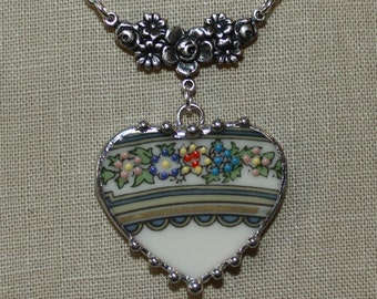 Broken China Jewelry LENOX AUTUMN Flower Rim Motif Broken China Jewelry Heart Pendant Necklace