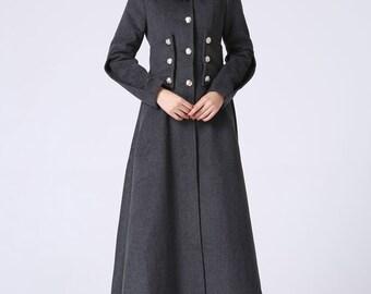 Long wool coat, military coat, wool coat, winter coat, grey coat, womens coats, warm coat, long trench coat, fitted coat,maxi coat,gift 1063