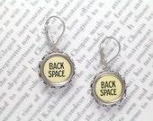 Typewriter Key Dangle Earrings With Back Space Keys  - Typewriter Jewelry From Haute Keys