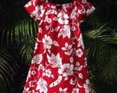 Girls Handmade Hawaiian Dress Red White Hibiscus Muu Muu