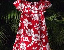 Handmade Hawaiian Dress Red White Hibiscus Muu Muu Girls, Juniors, Womens sizes Available
