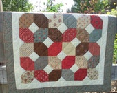 Hand Quilted Wall Hanging or Table Topper Lap Quilt - Free Shipping to USA