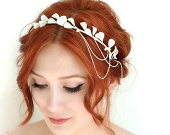Pearl crown, ivory headpiece, bridal head piece, wedding headband, headdress, hair accessory - Luna
