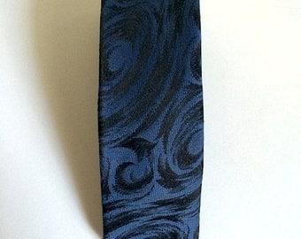 Vintage Neckties Men's 80's Super Skinny Tie, Blue, Black, Polyester, Jacquard by Expressions